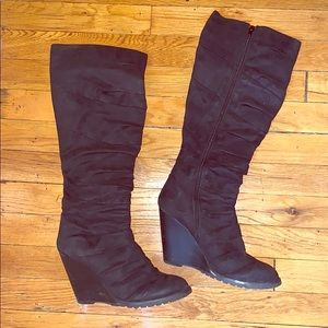 Black knee high boots with box